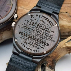 To Husband- Sooner and Longer Engraved Wooden Watch W1606