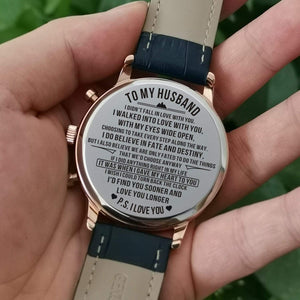 To Husband- Sooner and Longer Metal Engraved Wrist Watch