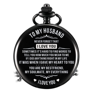 To Husband-When I Gave My Heart To You Personalized Engraved Quartz Pocket Chain Watch Black 4401