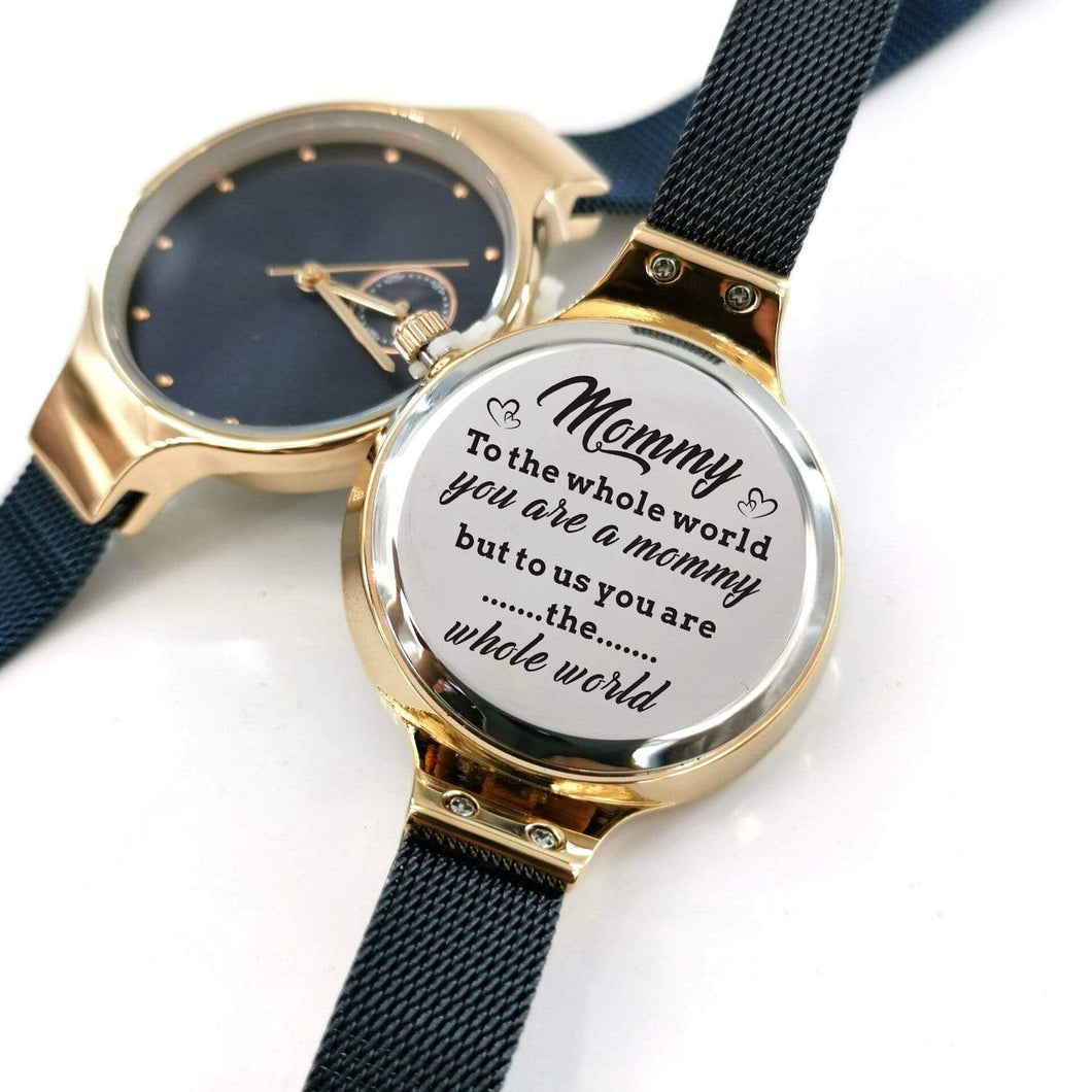 To Mom-You Are The Whole World Personalized Three-Hand Quartz Leather Watch