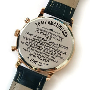 To My Amazing Son-Personalized Leather Strap Metal Engraved Wrist Watch From Dad