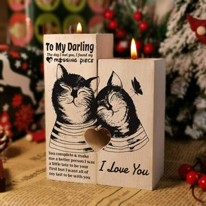 To my darling-Missing Piece Engraved Oak Wood Candle Holder 41