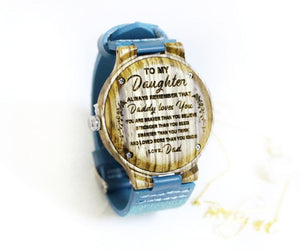 To My Daughter-Love Blue Infinity Engraved Wooden Watch Default Title