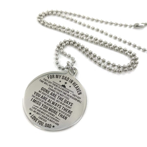 To My Father In The Heaven Engraved Necklace and Key Chain Necklace