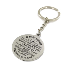 To My Father-Love With All My Heart Engraved Necklace and Key chain from Daughter Keychain