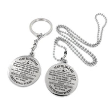 Load image into Gallery viewer, To My Father-Love With All My Heart Engraved Necklace and Key chain Keychain Necklace Set