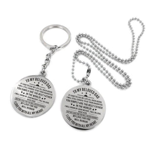 To My Father-Love With All My Heart Engraved Necklace and Key chain Keychain Necklace Set