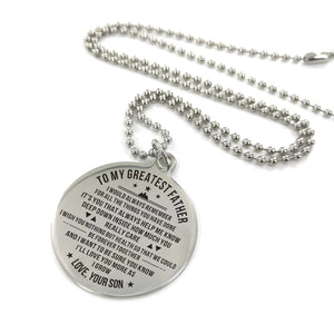 To My Father-Love You More As I Grow Engraved Necklace and Key Chain From Son Necklace
