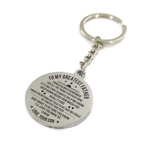 To My Father-Love You More As I Grow Engraved Necklace and Key Chain From Son Keychain