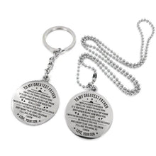 Load image into Gallery viewer, To My Father-Love You More As I Grow Engraved Necklace and Key Chain From Son Keychain Necklace Set