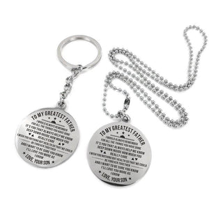 To My Father-Love You More As I Grow Engraved Necklace and Key Chain From Son Keychain Necklace Set