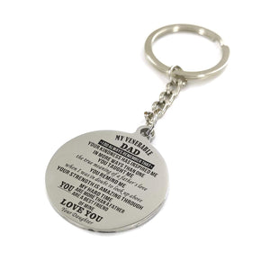 To My Father-More Than A Father Engraved Necklace and Key chain from Daughter Keychain