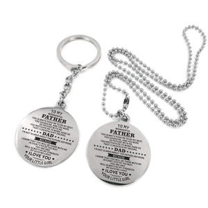 To My Father-You Are My Strength Engraved Necklace and Key chain from Daughter Keychain Necklace Set