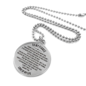 To My Fiance-Cannot Wait To Marry You Engraved Necklace and Key Chain Necklace
