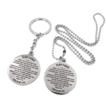 Load image into Gallery viewer, To My Fiance-Cannot Wait To Marry You Engraved Necklace and Key Chain Keychain Necklace Set