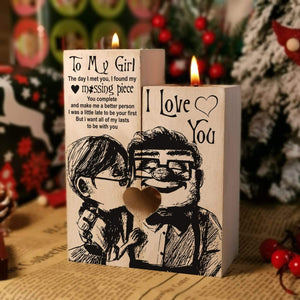 To My Girl-Missing Piece Engraved Solid Oak Wood Candle Holder 25