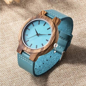 To My Girlfriend Blue Infinity Engraved Wooden Watch
