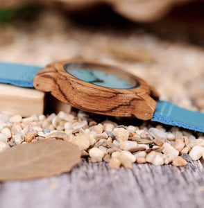 To My Girlfriend- I Got So Lucky Blue Infinity Engraved Wooden Watch