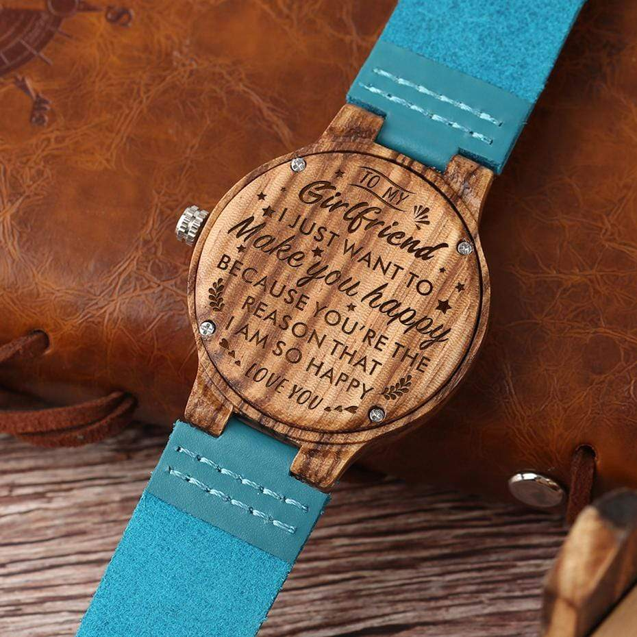 To My Girlfriend- Want To Make You Happy Blue Infinity Engraved Wooden Watch 2203