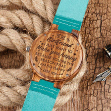 Load image into Gallery viewer, To My Girlfriend- Want To Make You Happy Blue Infinity Engraved Wooden Watch 2203