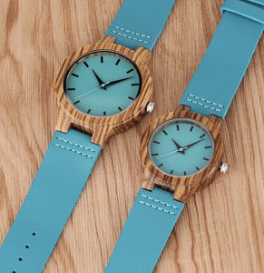To My Girlfriend- Want To Make You Happy Blue Infinity Engraved Wooden Watch