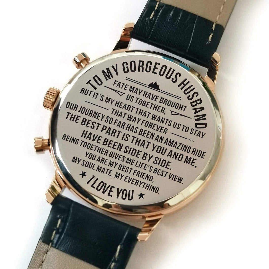 To My Gorgeous Husband Metal Engraved Wrist Watch