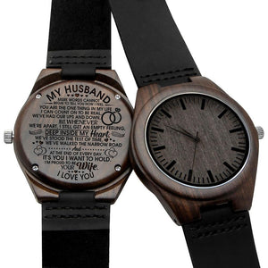 To My Husband I Am Proud To Be Your Wife Engraved Wooden Watch W1604