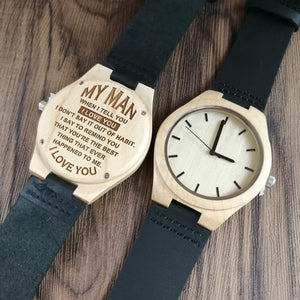 To My Man-Best Things Ever Happened To Me Engraved Maple Wooden Watch