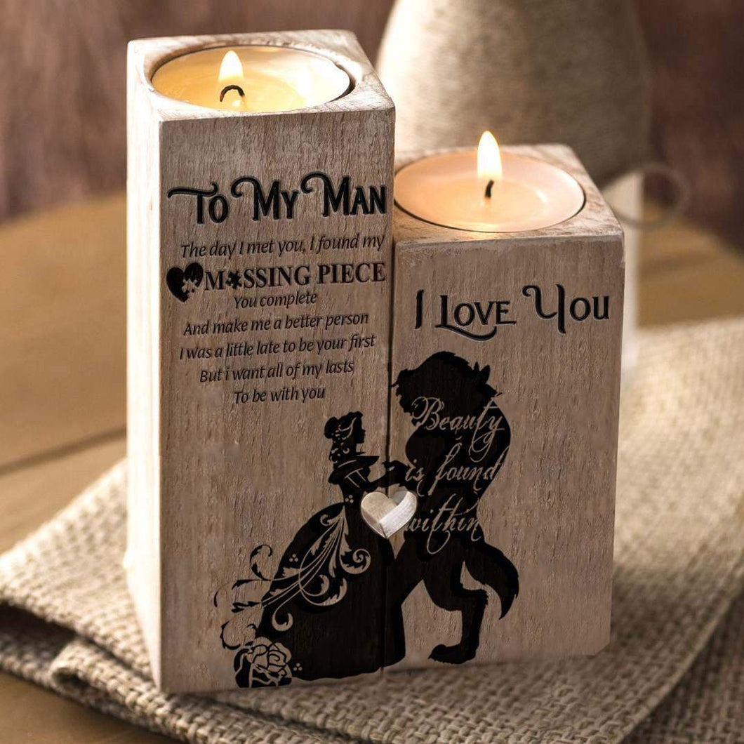 To My Man Missing Piece Beauty And Beast Engraved Oak Wood Candle Hold Beiby Bamboo