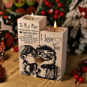 To my man-Missing Piece Engraved Oak Wood Candle Holder 27