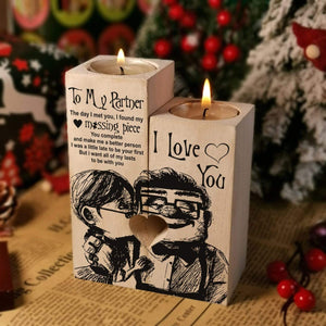 To my partner-Missing Piece Engraved Oak Wood Candle Holder 28