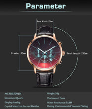 Load image into Gallery viewer, Mom Dad To Son-Do Not Give Up Engraved Leather Stripe Metal Wrist Watch K4505
