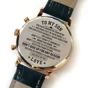 To My Son-Do Not Give Up Metal Engraved Wrist Watch From Mom and Dad