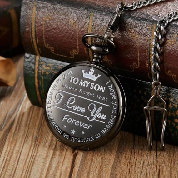 To My Son I Love You Forever Engraved Pocket Watch Black