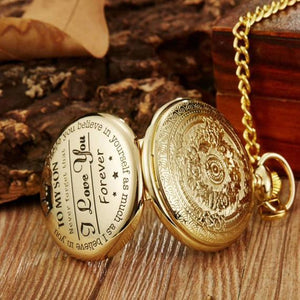 To My Son- I Love You Forever Personalized Engraved Pocket Watch Gold
