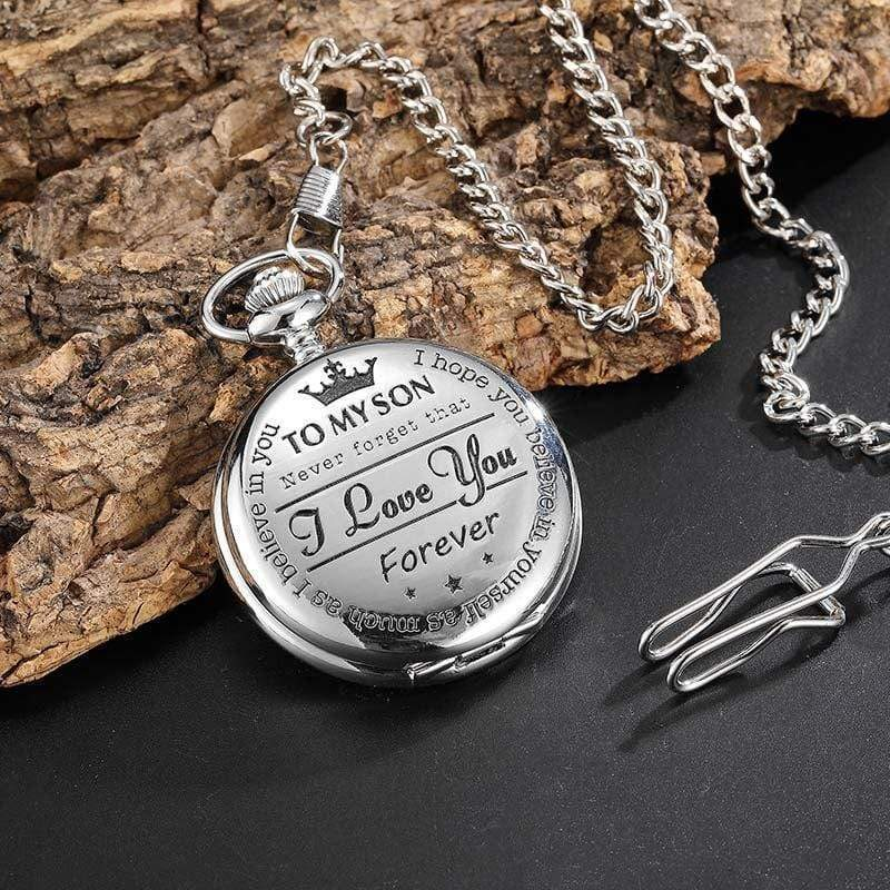 To My Son-I Love You Forever Quartz Pocket Chain Watch Silver Silver