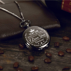 To My Son-I Love You Forever Quartz Pocket Chain Watch Silver