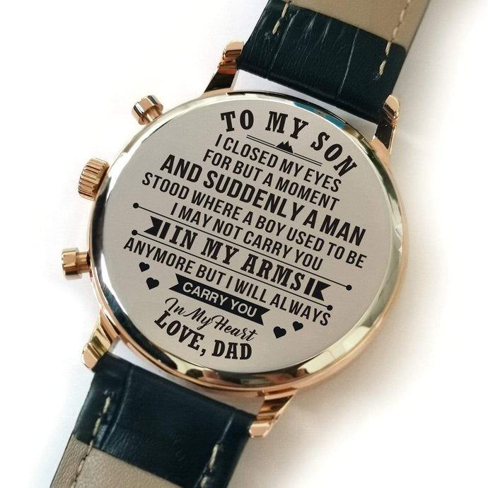 To My Son-In My Heart Custom Leather Strap Metal Engraved Wrist Watch From Dad