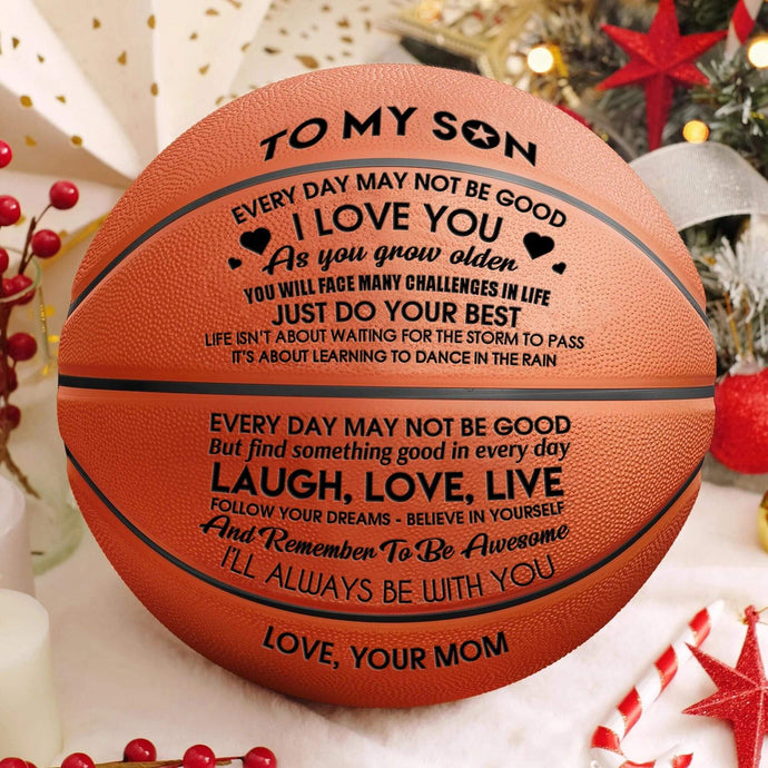 To My Son Love You From Mom Engraved Basketball Ball 001
