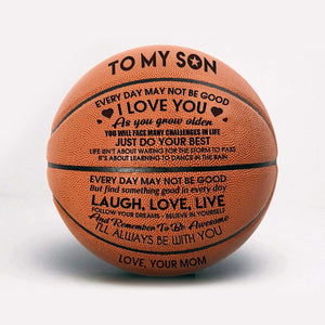 To My Son Love You From Mom Engraved Basketball Ball