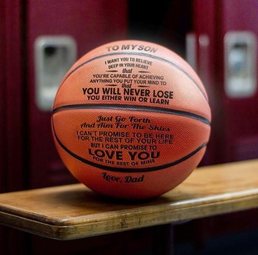 To My Son-Never Lose From Dad Engraved Basketball Ball
