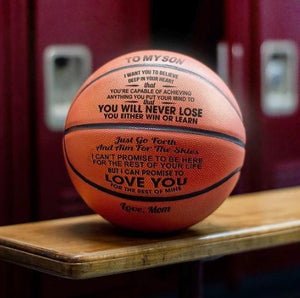 To My Son-Never Lose From Mom Engraved Basketball Ball