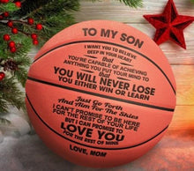 Load image into Gallery viewer, To My Son-Never Lose From Mom Engraved Basketball Ball