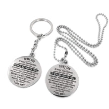 Load image into Gallery viewer, To Son-I Am Always With You Engraved Necklace and Key chain Circular Silver from Mom Keychain Necklace Set