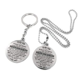 To Son-I Am Always With You Engraved Necklace and Key chain Circular Silver from Mom Keychain Necklace Set