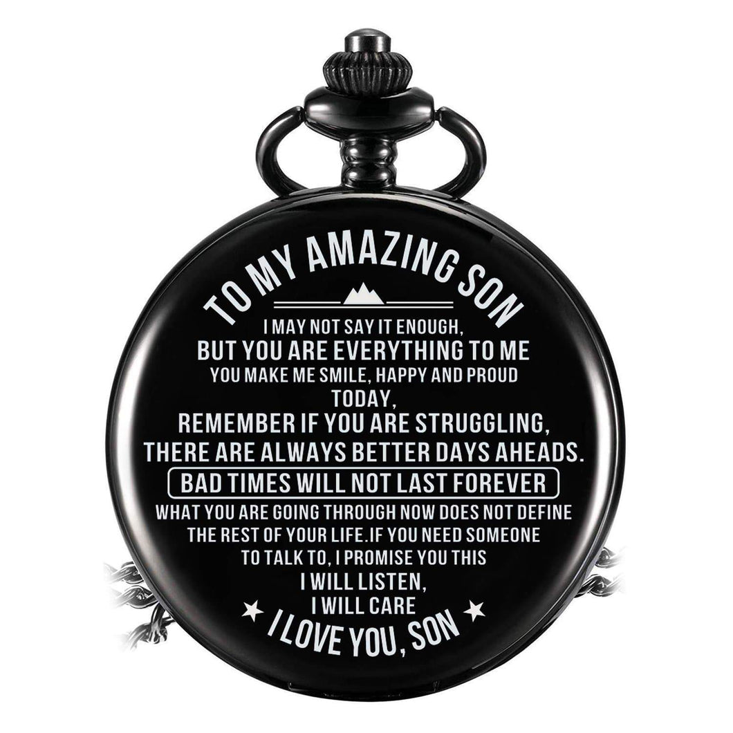 To Son-You Are Everything To Me Quartz Pocket Chain Watch 4510