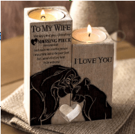 To Wife/Girlfriend-Missing Piece Lion King Oak Wood Candle Holder