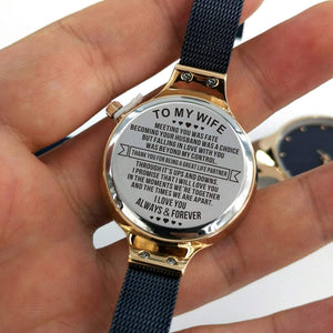 To Wife-Love You Always And Forever Personalized Three-Hand Quartz Leather Watch