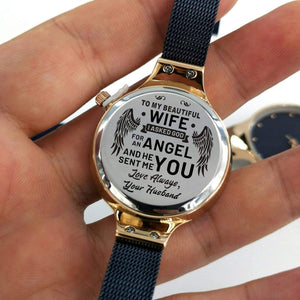 To Wife-My Beautiful Angel Personalized Three-Hand Quartz Leather Watch