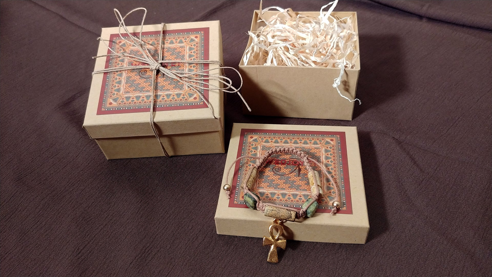 "Ankh Necklace in Gold with ""Egyptian Sky"" & ""Wadi Sand"" Faience Beads - ""Ka Collection"""